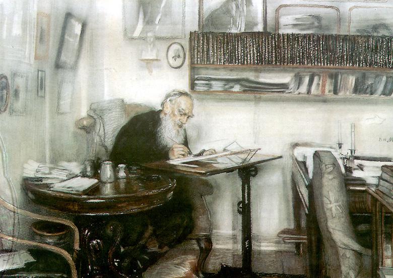 Tolstoi en Yásnaia Poliana, 1910, por Meshkov