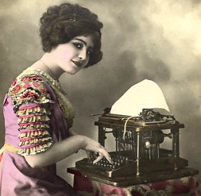 Typist at typewriter, from French postcard, c.
