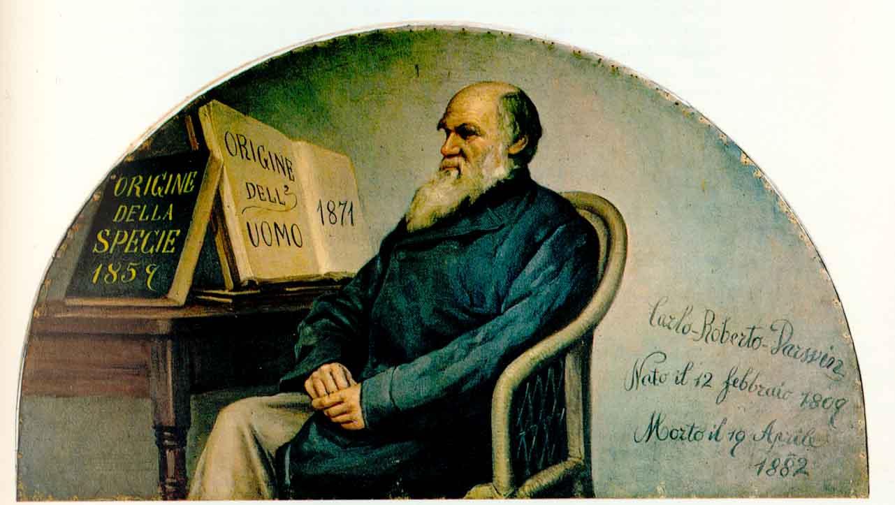 Italian panel depicting Charles Darwin, created ca. 1890, on display at the Turin Museum of Human Anatomy. Wikimedia image
