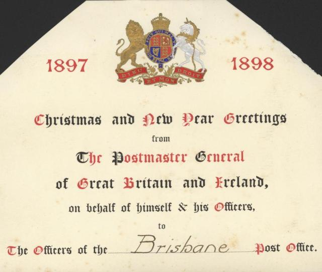 Filestatelibqld   Christmas Card Sent To Brisbane Post Office From The Postmaster General
