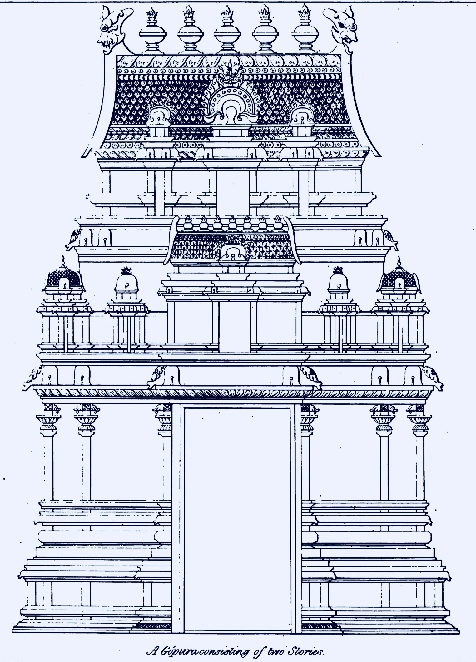 hight resolution of two stoery gopura dravidian architecture