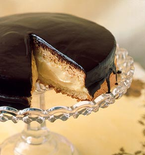 Last course: Boston Cream Pie served with fres...