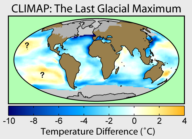 CLIMAP map of ice sheets, sea temperature chan...