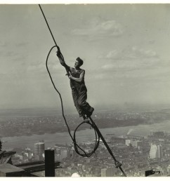 a photograph of a cable worker taken by lewis hine as part of his project [ 3519 x 2760 Pixel ]