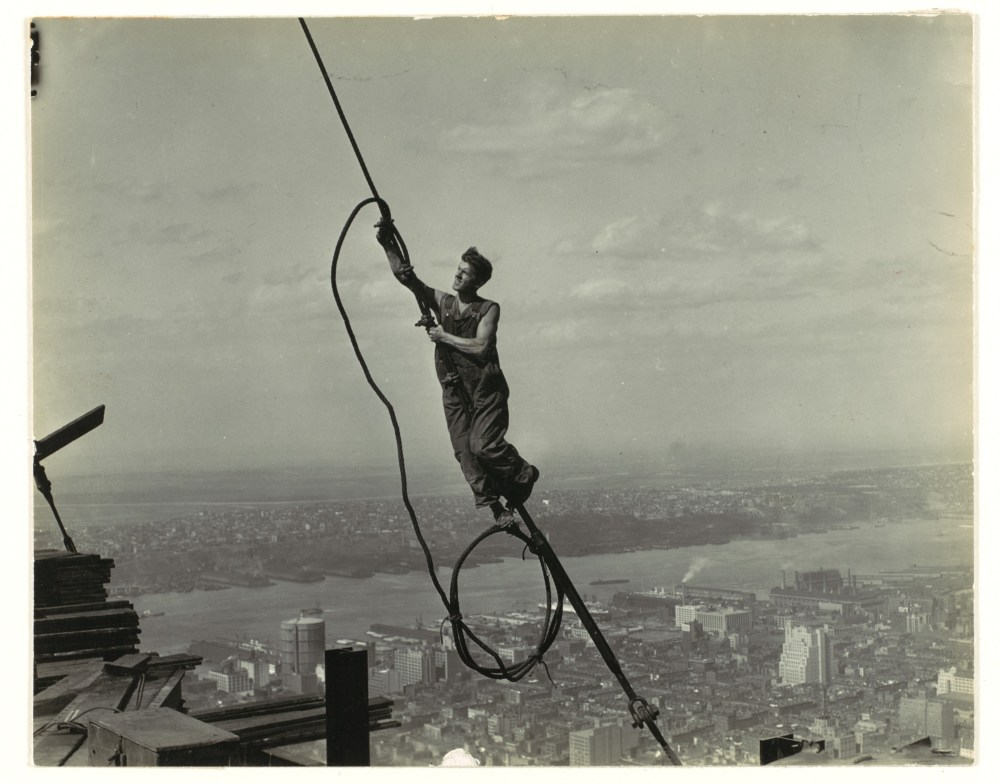 medium resolution of a photograph of a cable worker taken by lewis hine as part of his project