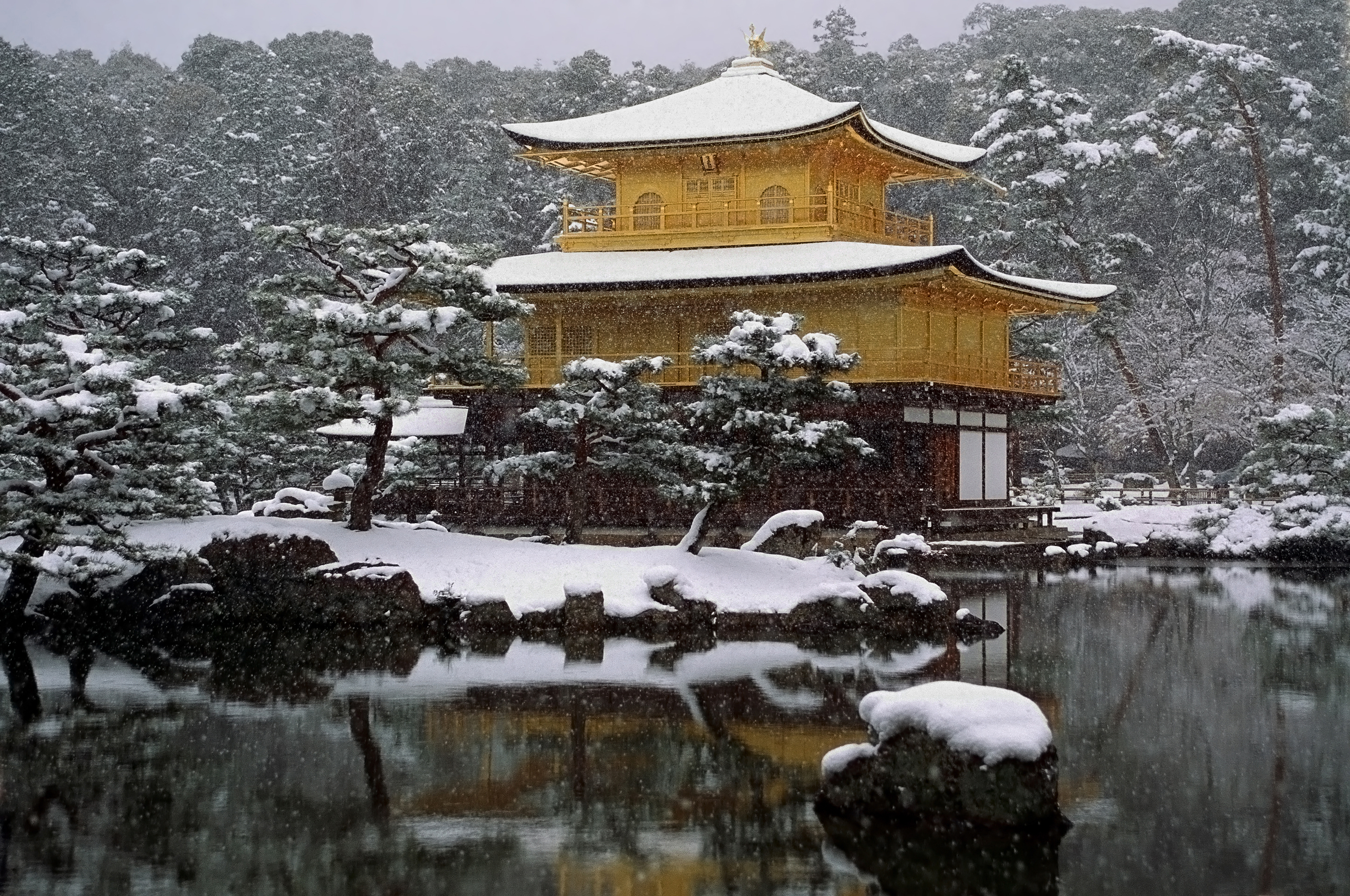Traditional Japanese temple in winter.
