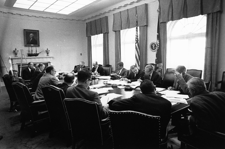 EXCOMM meeting at the White House Cabinet Room...