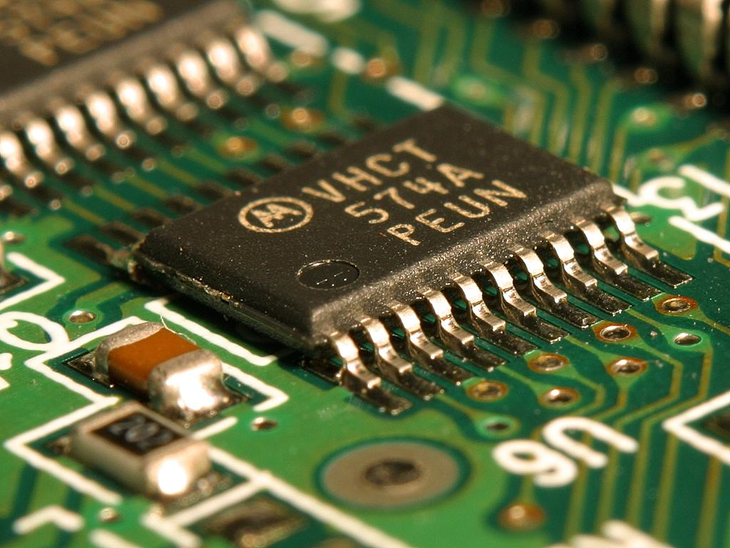 Burned Integrated Circuit On Printed Circuit Board