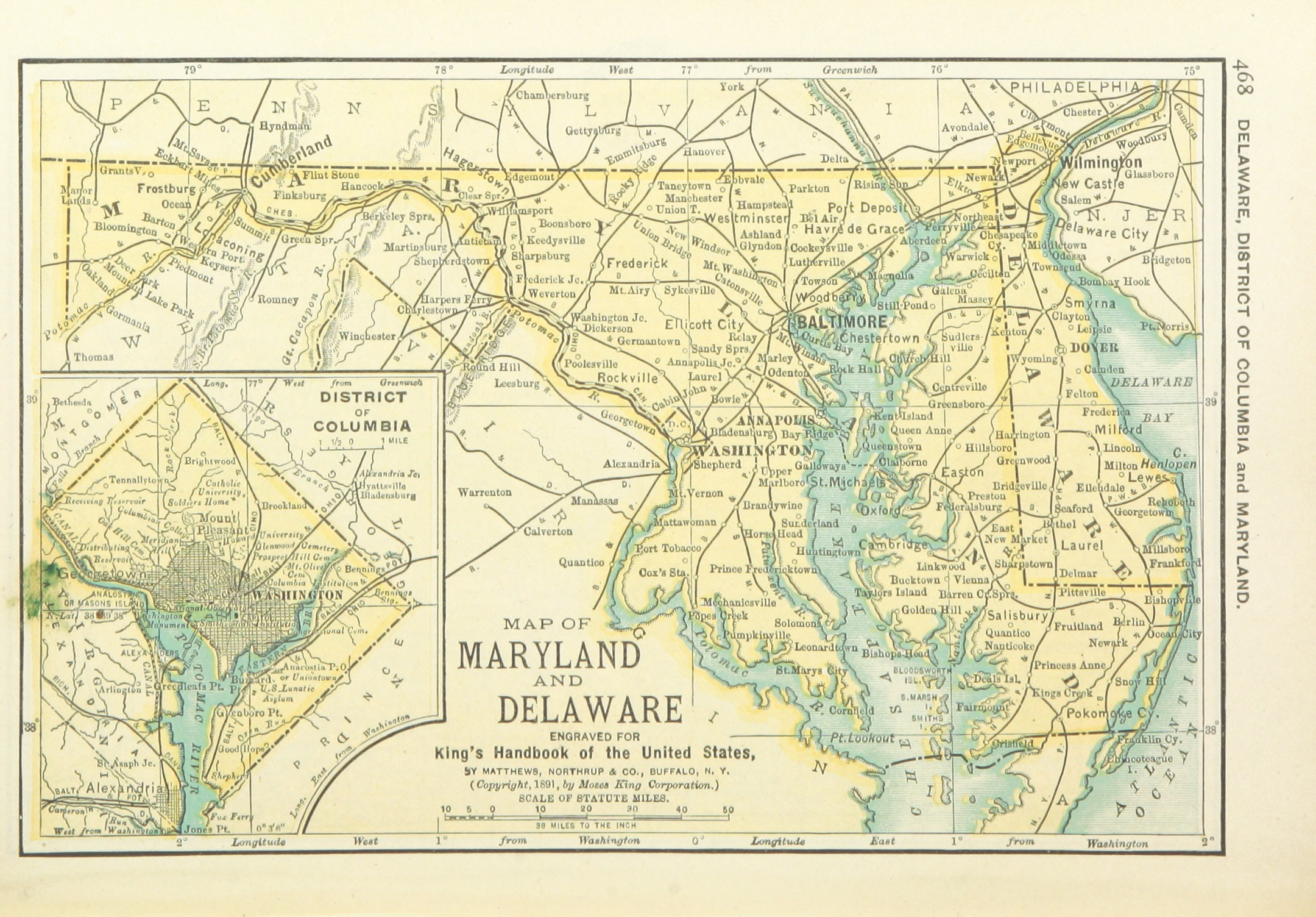 The map legend is sometimes called the map key. File Us Maps 1891 P470 Map Of Maryland Delaware And District Of Columbia Jpg Wikimedia Commons