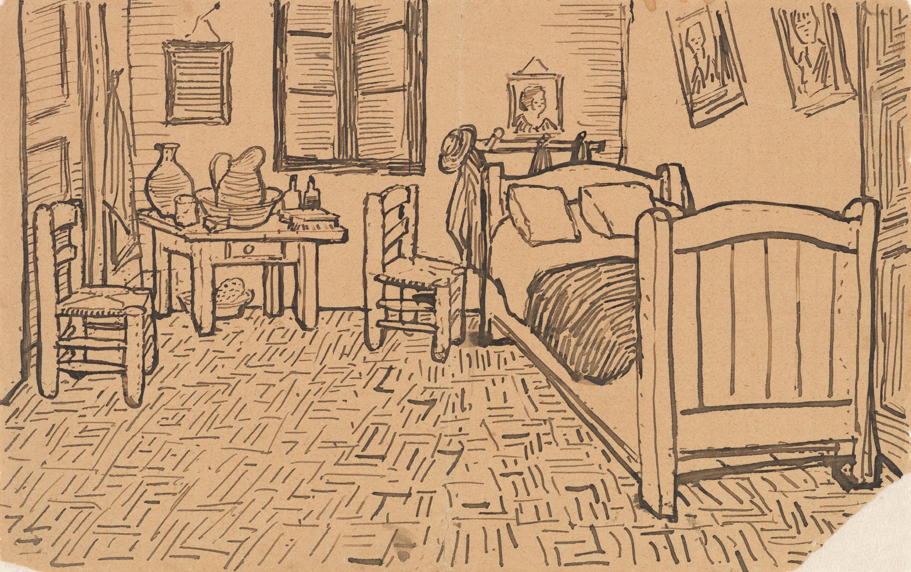 file:vincent van gogh - vincent's bedroom in arles - letter sketch