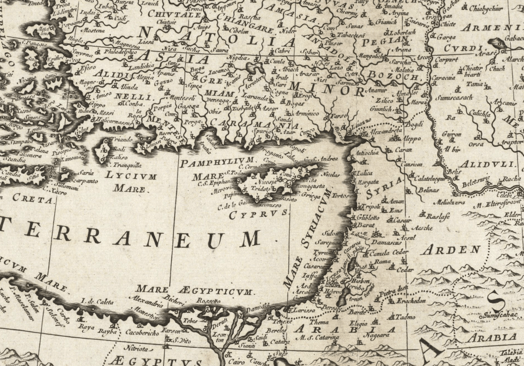 1680 partial map of Mediterranean
