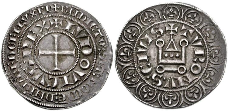 Münze, die dem französischen König Ludwig IX. (1226-1270) zugeschrieben wird