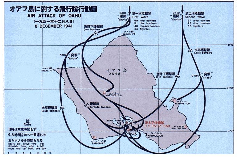 大日本帝国海軍攻撃隊の侵入経路図