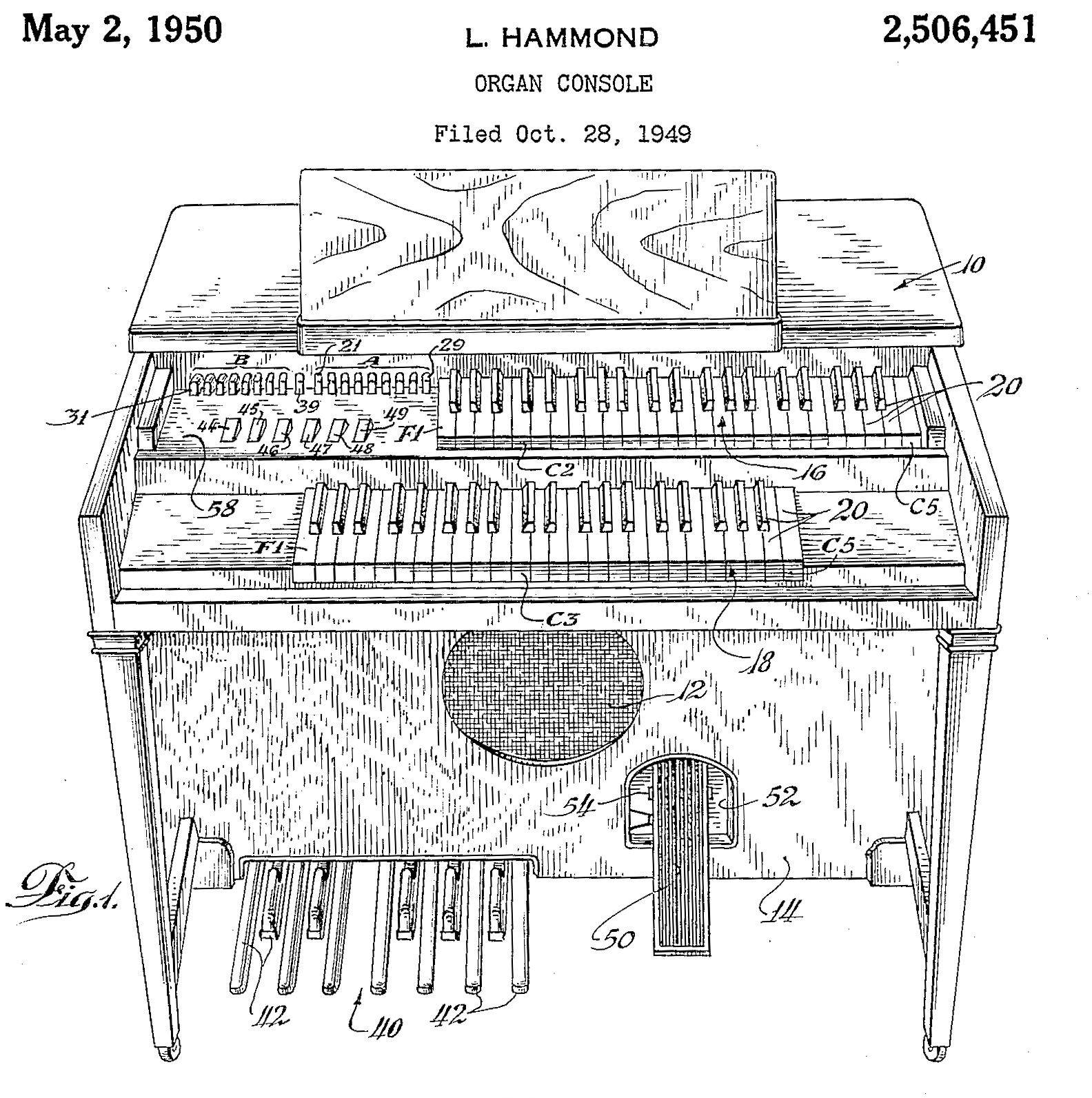 File:US2506451A Organ Console (1949-10-28 filed, 1950-05