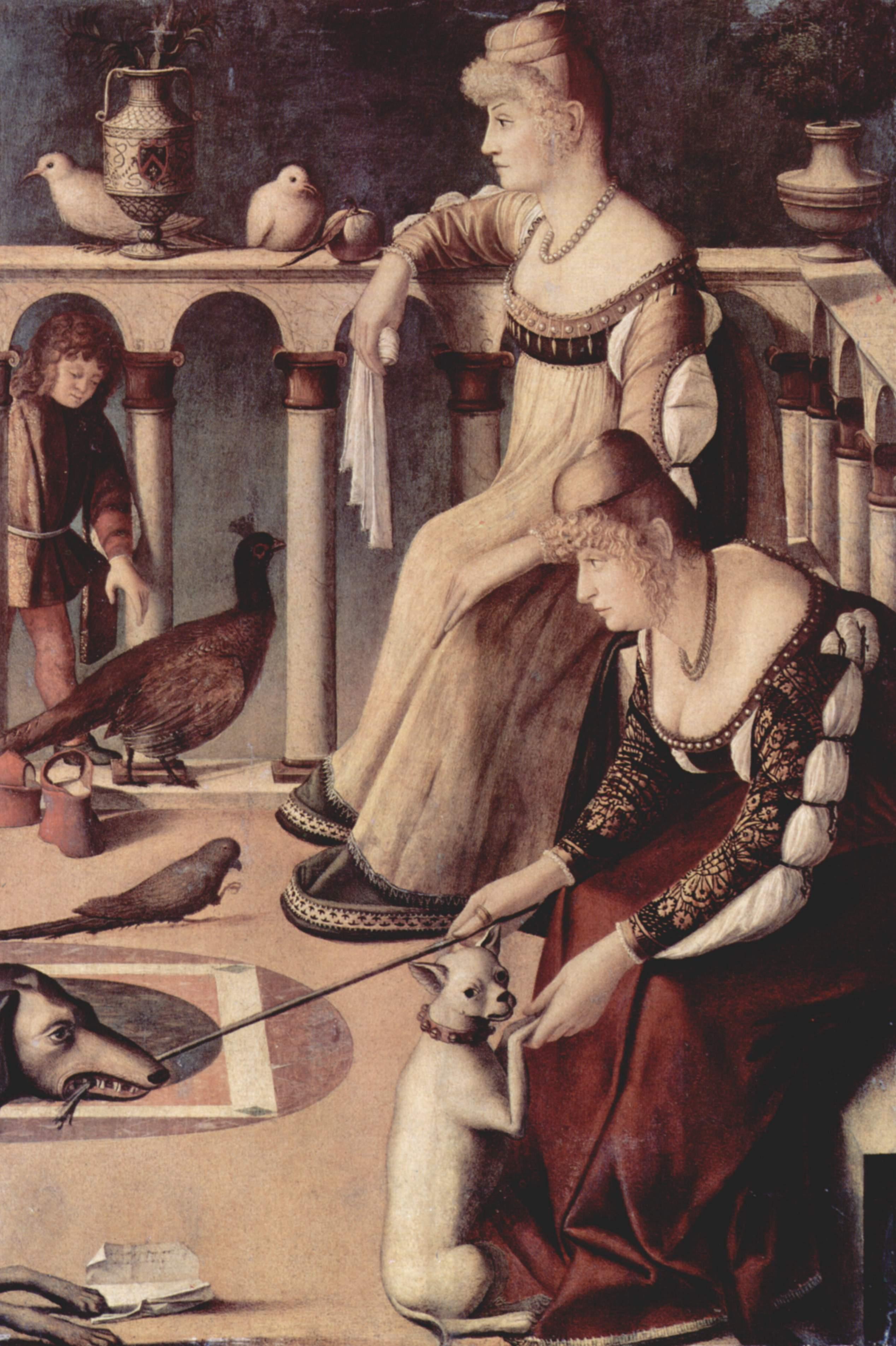 Två venetianska damer, en bild som, troligen felaktigt, påståts föreställa två kurtisaner.
