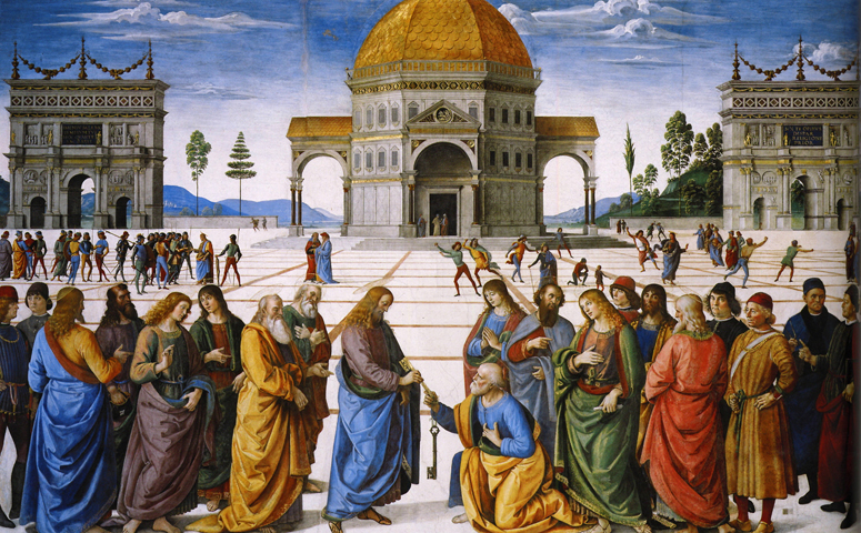 Christ Handing the Keys to St. Peter by Pietro Perugino (1481-82) Fresco, 335 x 550 cm Cappella Sistina, Vatican.