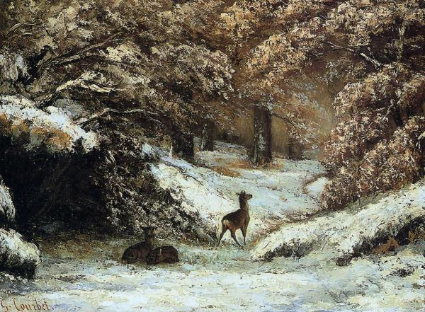 Gustave Courbet Deer Taking Shelter in Winter