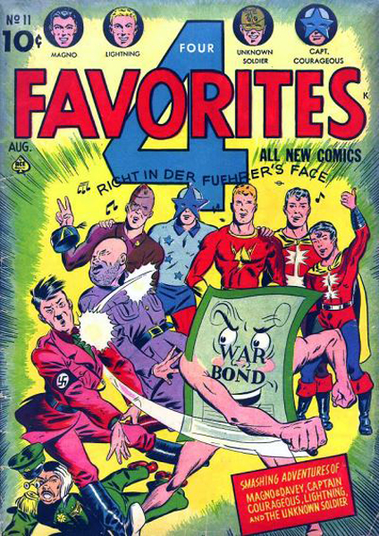 American comic book since the war, depicting the struggle of superheroes with Mussolini, Hitler and Hirohito.