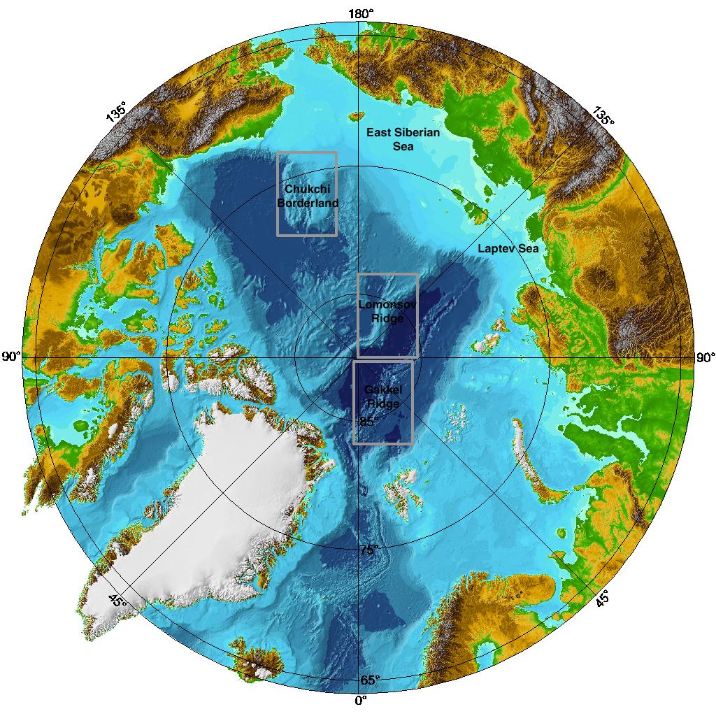 English: Arctic Ocean, submarine features Fran...