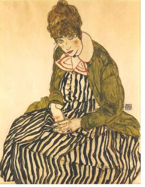 File Schiele - Edith In Gestreiftem Kleid Sitzend