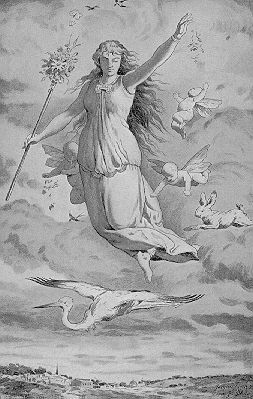 The goddess is a dwarf, romantic depiction from the 19th century, licence: Public Domain