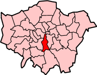 Location of the London Borough of Lambeth in G...