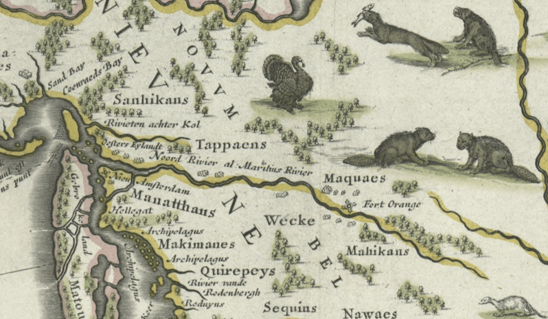 Archivo:Blaeu - Nova Belgica et Anglia Nova (Detail Hudson Area).png