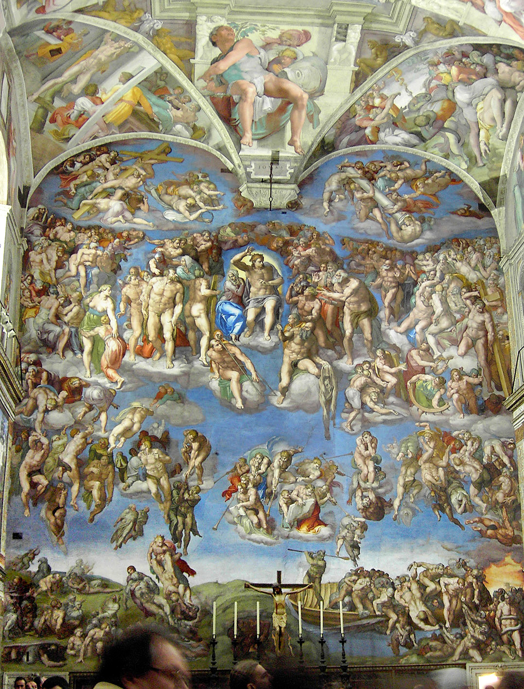 Michelangelo's The Last Judgment, Southern Wall, Sistine Chapel, Rome, Italy