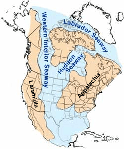 Western Interior Seaway during the mid-Cretaceous, about 100 million years before the present