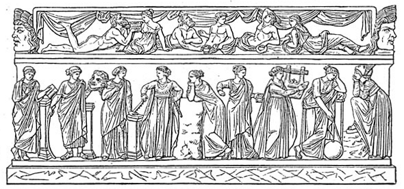 The nine canonical Muses. From left to right: ...