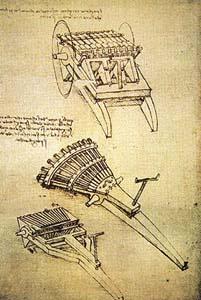 Варианты скорострельных орудий рисунок Леонардо да Винчи