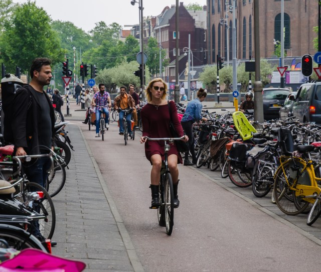 Along The Fietspad In Amsterdam Safe From Traffic