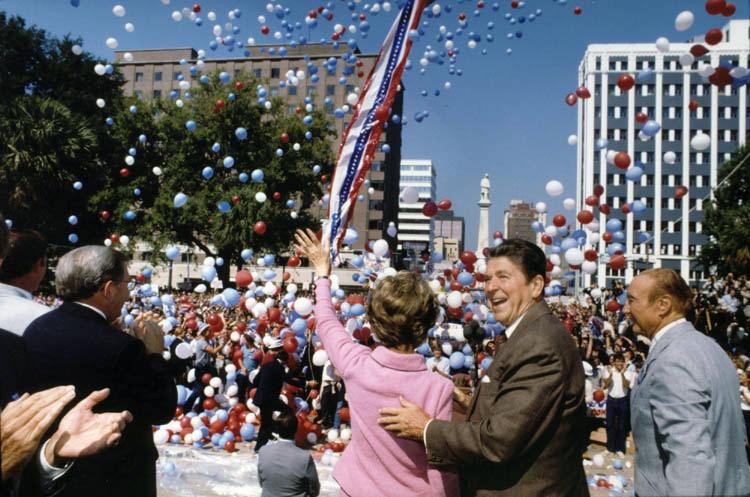 Ronald Reagan campaigning with Nancy Reagan in...
