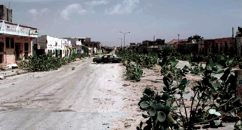 Calle abandonada en Mogadiscio, capital de Somalia