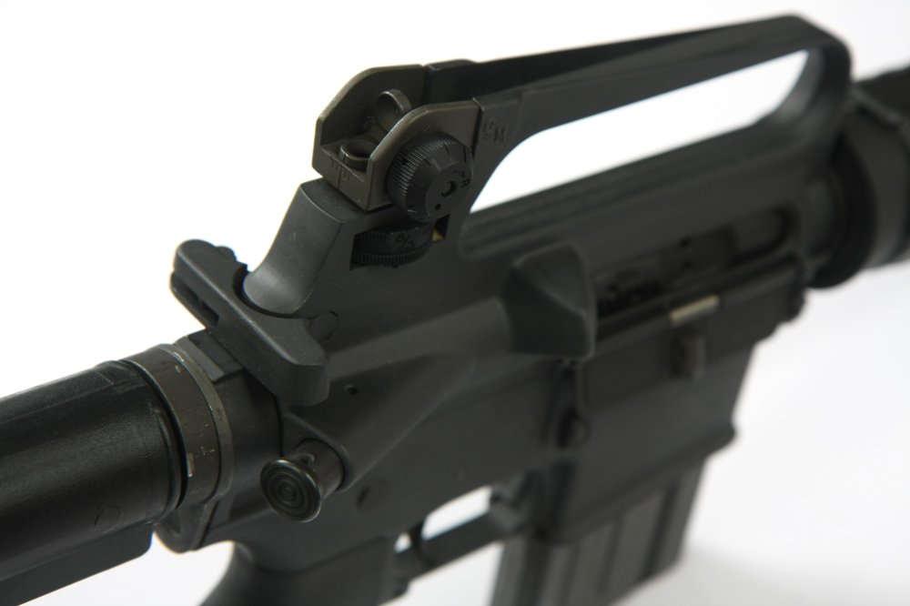 medium resolution of the ar 15a2 most distinctive ergonomic feature is the carrying handle and rear sight assembly on top of the receiver