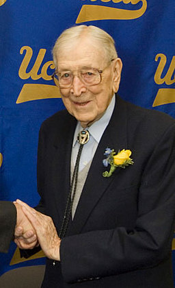John Wooden at a ceremony on Oct. 14, the coac...