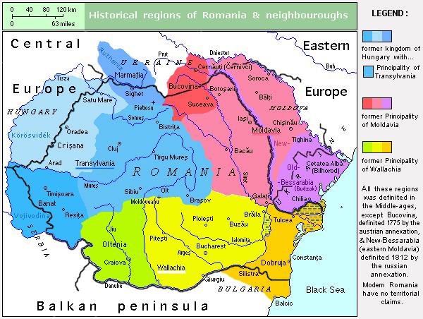 Les régions historiques de peuplement roumain (Transylvanie, Valachie et Moldavie) par rapport aux actuelles Roumanie et Moldavie - Wikicommons