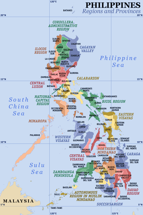 A clickable map of the Philippines exhibiting its 17 regions and 81 provinces.