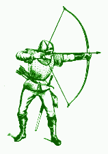 green version of line art drawing of an archer...