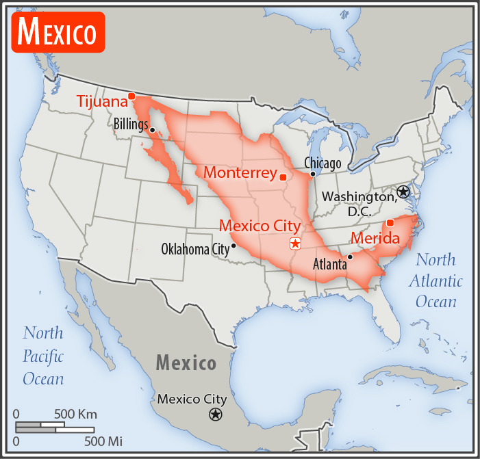 File:Map of Mexico superimposed on top of the contiguous U.S.jpg - Wikimedia Commons