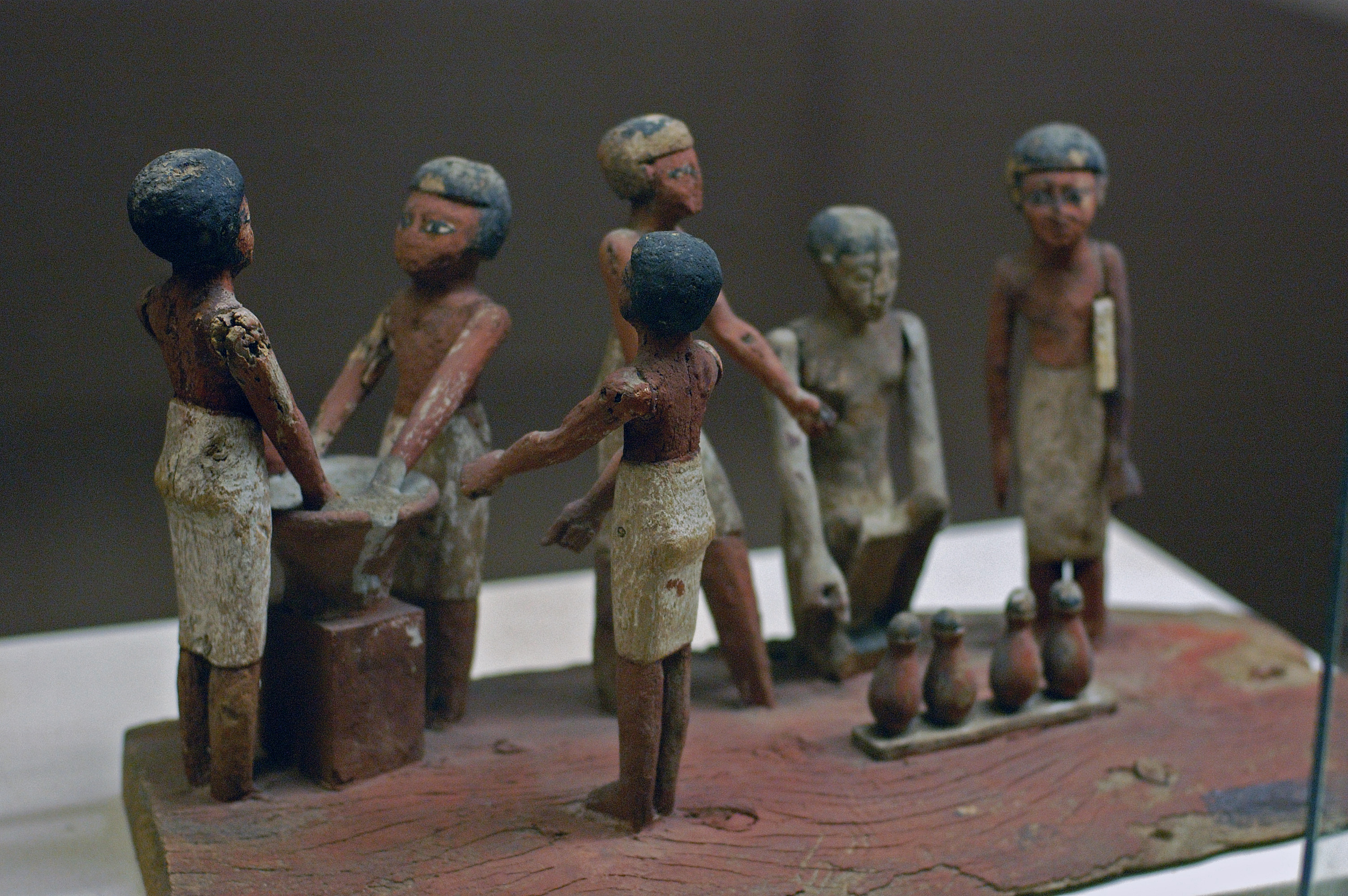 Egyptian wooden model of beer making in ancient Egypt, Rosicrucian Egyptian Museum, San Jose, California
