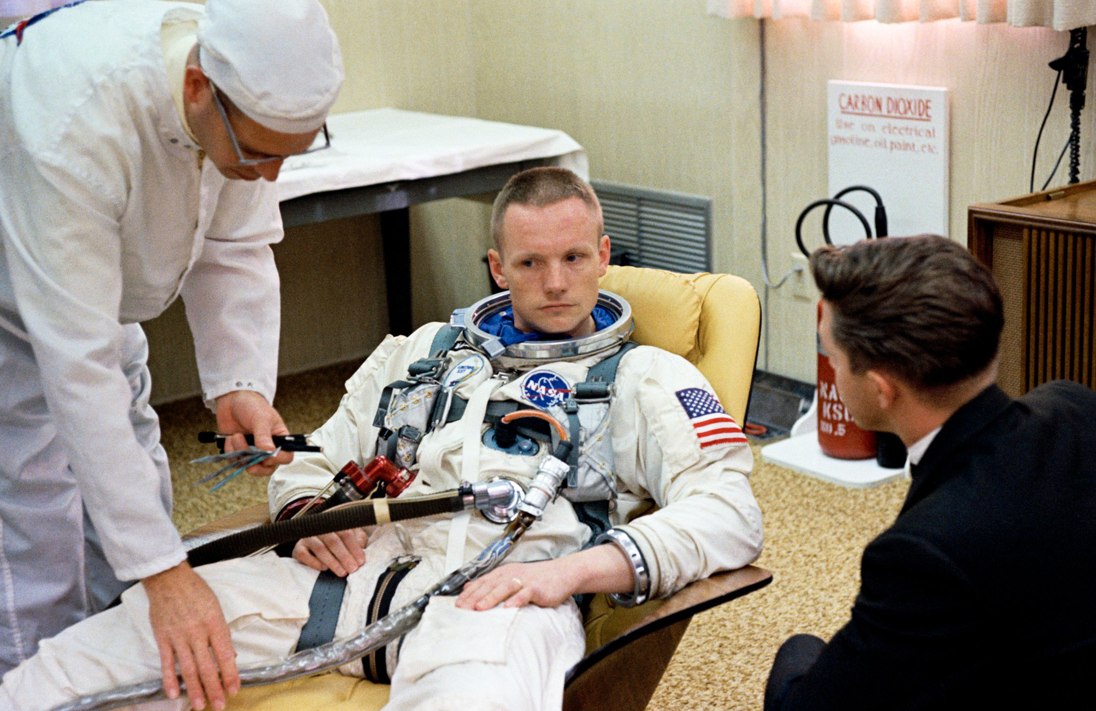 Neil Armstrong Suiting Up For Gemini 8 In March