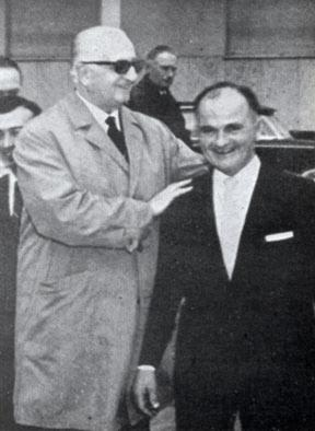 Ilario Bandini and Enzo Ferrari in Forlì in 1964.