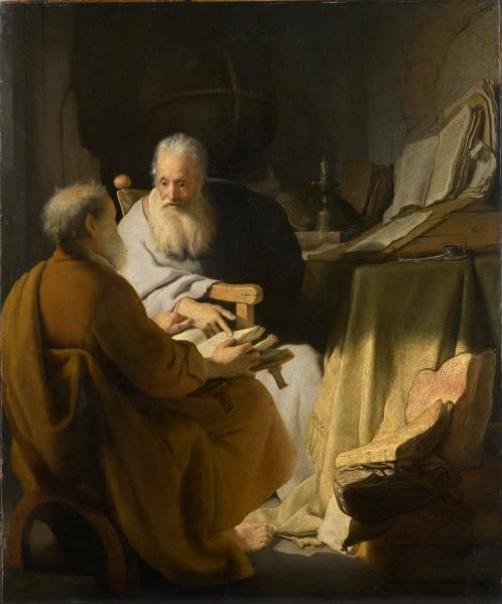"""""""Two Old Men Disputing"""" by Rembrandt"""