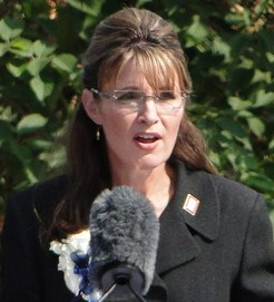 English: Sarah Palin, announcing her resignati...