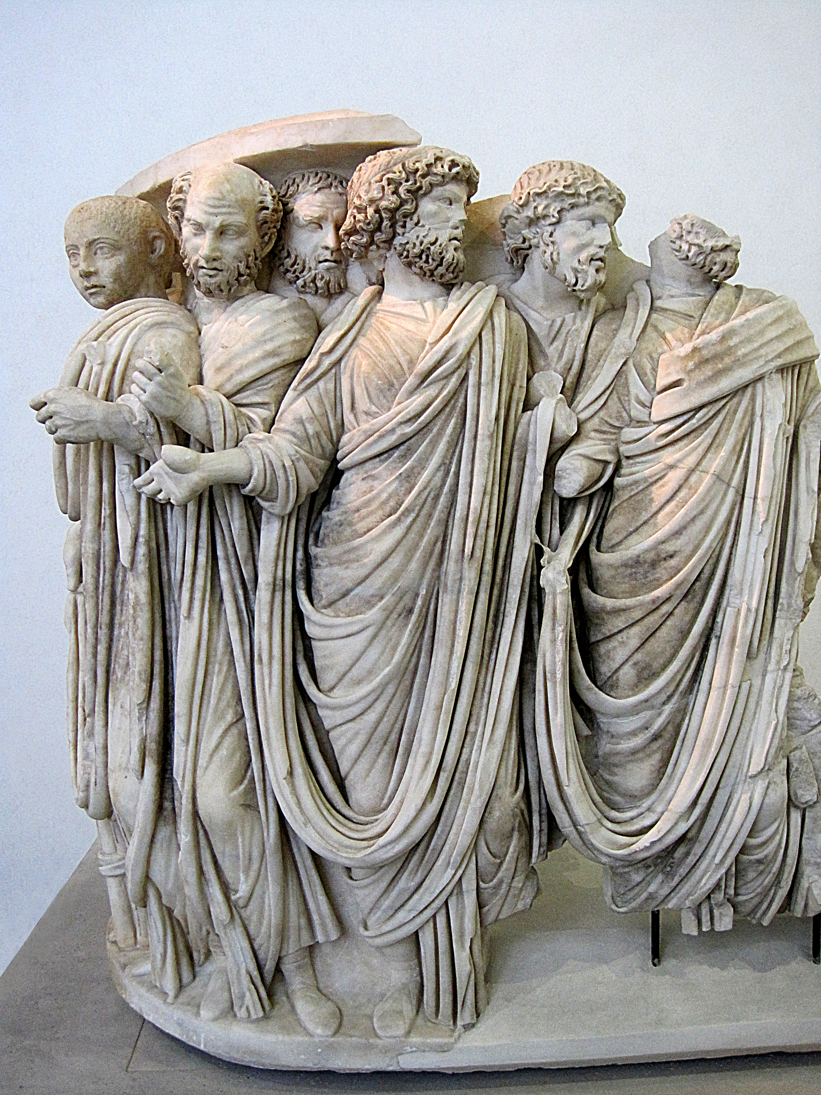 Marble fragment of the sarcophagus depicting Acilia Gordian III and some members of the Roman Senate.