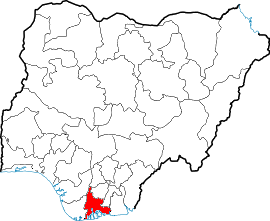 English: Map showing location of Rivers state ...