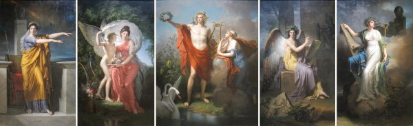 Oil Painting Apollo and Muses
