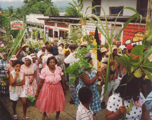 Garinagu (Zambos) celebrating in Guatemala.