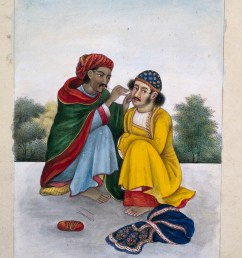 an ear cleaner attending to a man s ear gouache painting india by wellcome [ 3066 x 4668 Pixel ]